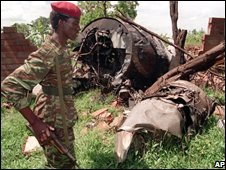 Wreckage of Juvenal Habyarimana's plane