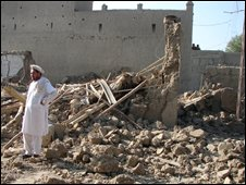 File image of a building damaged by a US strike in Pakistan