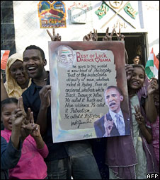 Indian tribals celebrating Barack Obama's win