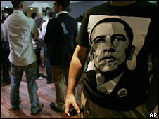 Indian man wearing a Barack Obama tee shirt in Bangalore, India