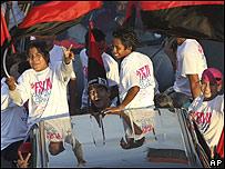 Seguidores del candidato sandinista Alexis Argüello