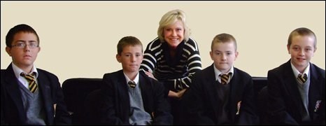 Sue Barker with School Reporters from De La Salle Humanities College in Liverpool