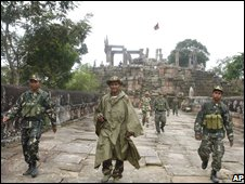 Soldiers close to Preah Vihear temple on the disputed Thai-Cambodia border on 17 October