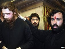 Greek Orthodox monks after fighting at the Church of the Holy Sepulchre, Jerusalem, 9 November 2008