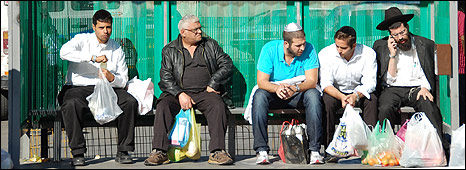 People at bus stop in West Jerusalem