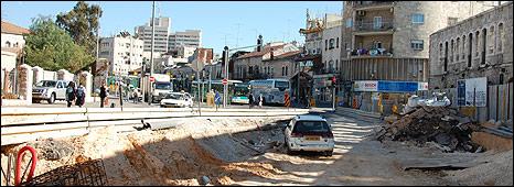 Rail construction site, Jaffa St, West Jerusalem