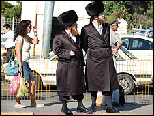 Haredi and secular people on Jaffa St, West Jerusalem