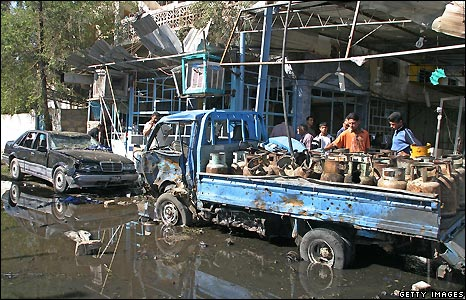 Vehicles badly damaged by the Baghdad bombings - 10/11/2008