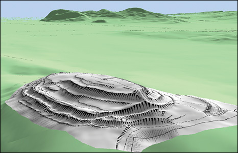 Computer model of Gaer Fawr (copyright RCAHMW', Geoperspectives and Landmark Information Group Ltd