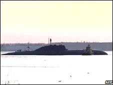 Video grab from Russian NTV channel of Russian submarine following accident in Pacific