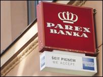 Вывеска Parex Banka в Риге