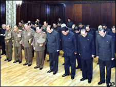 North Korean dignitaries - including leading political figures such as Kim Yong-nam, Kim Yong-il, Yang Hyong-sop and Choe Thae-bok - attend the funeral of Pak Song-chol on 30 October