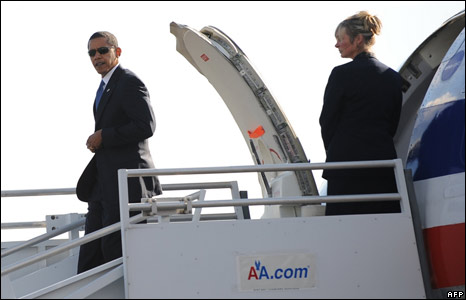 Mr Obama arrives at Ronald Reagan airport in Washington ahead of his White House talks