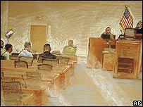 Interpretaci�n art�stica de un tribunal militar de detenido en Guant�namo