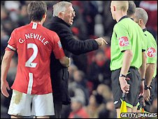 Sir Alex Ferguson remonstrates with referee Mike Dean at the end of Manchester United's 4-3 win over Hull at the beginning of November
