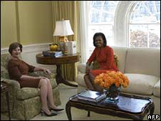 Laura Bush and Michelle Obama at the White House