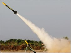File pic of a rocket, similar to those used against Israel, being launched in the Gaza Strip