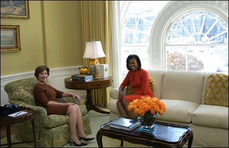 Laura Bush (left) and Michelle Obama