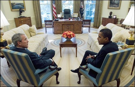 President Bush and Barack Obama in the Oval Office