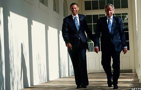 Barack Obama and George Bush
