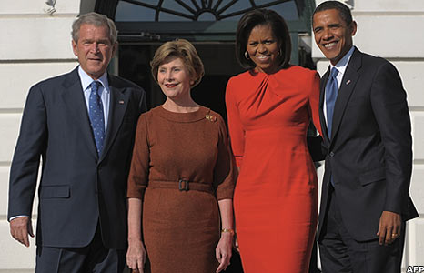 George and Laura Bush, Barack and Michelle Obama