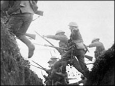 Briti8sh soldiers leaping over a trench - Photo courtesy National Army Museum
