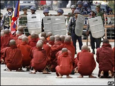 Monks protesting in Rangoon, Burma, on 26 September 2007