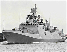 Indian warship in the Gulf of Aden