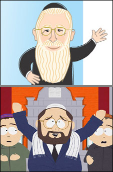 Meir Porush poster and South Park image