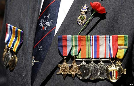 A veteran wears his medals at a Remembrance Day ceremony in Australi