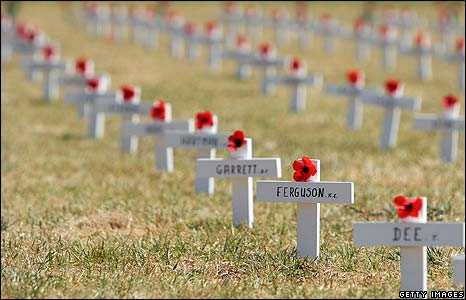 WWI memorial crosses in Melbourne, Australia