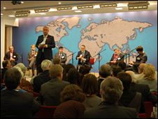 Eddie Mair and the panel at Chatham House