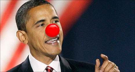Barack Obama with a red nose