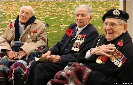 Surviving WW1 veterans Henry Allingham, Harry Patch and Bill Stone