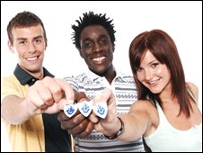 Blue Peter presenters Joel Defries, Andy Akinwolere and Helen Skelton