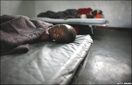 A boy, ill with Cholera, at the Don Bosko orphanage in Goma