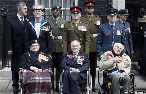 Gordon Brown alongside veterans in Downing Street