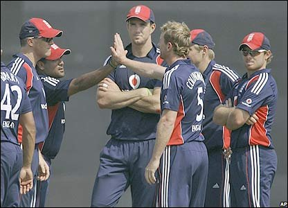 Paul Collingwood celebrates a wicket for England