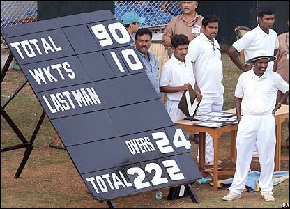 The scoreboard in Mumbai