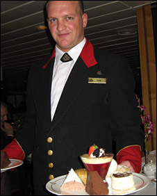 A waiter on board the QE2