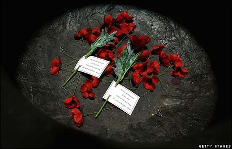 Poppies lay on the Shrine of Remembrance in Melbourne, Australia