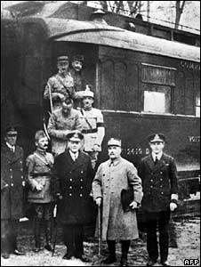Allied Supreme Commander  Ferdinand Foch (first row, 2nd right) and other signatories of the Armistice treaty in Compiegne Forest on 11 1918