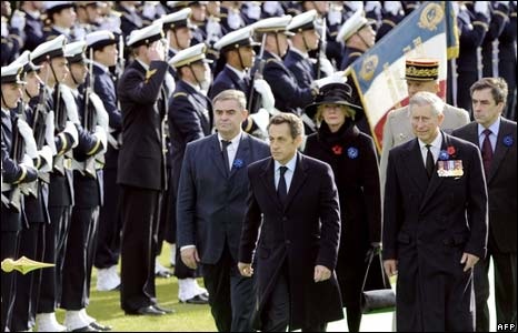 French President Nicolas Sarkozy and Prince Charles at the Military Cemetery in Verdun