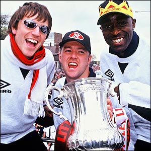 Lee Sharpe, Gary Pallister and Andrew Cole