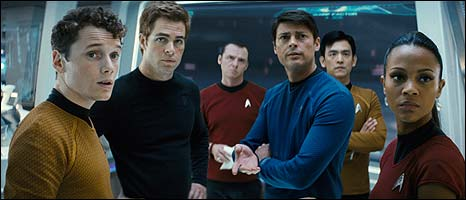 Anton Yelchin, Chris Pine, Simon Pegg, Karl Urban, John Cho and Zoe Saldana in Star Trek
