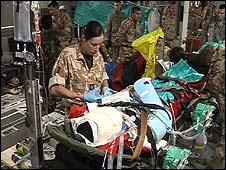 Injured soldier on board RAF plane