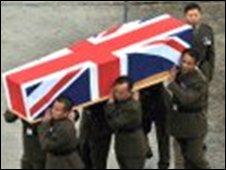 The coffin of Rifleman Yubraj Rai [pic: MoD]