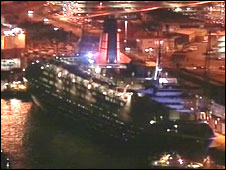 The QE2 in Southampton ready to leave on its final journey