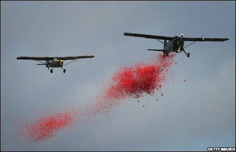 A DeHavilland Beaver aircraft and an Auster drop one million poppies over the QE2