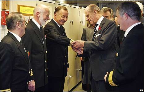 The Duke of Edinburgh meets QE2 crew